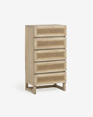 Rexit solid mindi wood and veneer chest of 5 drawers with rattan 60 x 112 cm