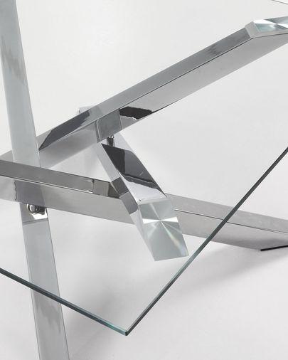 Kamido Couchtisch 90 x 90 cm, Glas Platte, mit Tischbeinen aus Stahl
