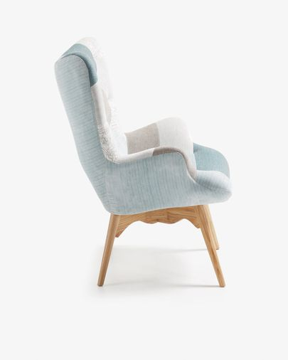 Kody patchwork fauteuil blauw