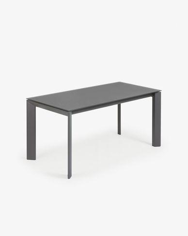 Tavolo allungabile Axis 160 (220) cm cristallo grafite gambe grafite