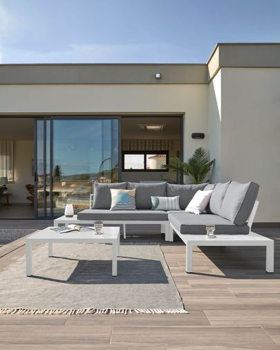 Duka Outdoor-Set mit 5-Sitzer Ecksofa und weißem Aluminiumtisch
