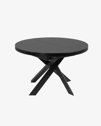 Mesa extensible Vashti Ø 120 (160) cm cristal patas de acero negro