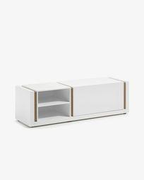Mueble TV DE 140 x 42 cm con lacado blanco y detalles en chapa de roble
