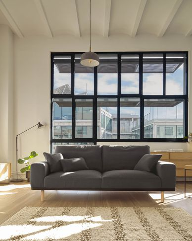 Noa 3-seater sofa in grey with natural finish legs 230 cm