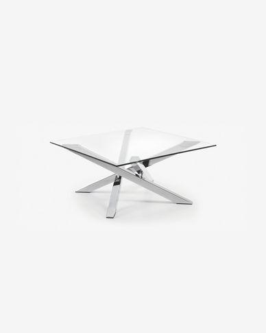 Tavolino Kamido 90 x 90 cm piano vetro gambe metallo