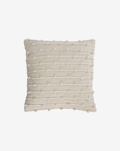 Funda cojín Akane de algodón y lana beige 45 x 45 cm