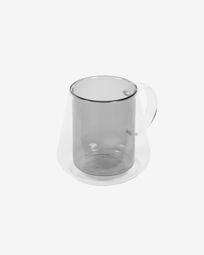 Chávena grande Kimey vidro transparente e cinza
