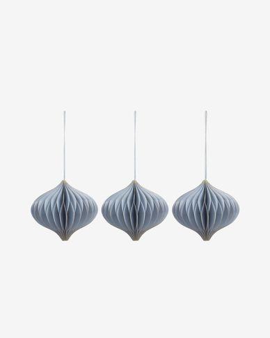 Decoratieve ballen Xilene set van 3 hangend in blauw
