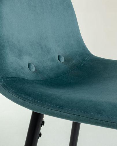 Taburete Nolite terciopelo turquesa y acero galvanizado negro altura 75 cm