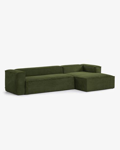 Blok 3-seater sofa with right-hand chaise longue in green thick corduroy 330 cm