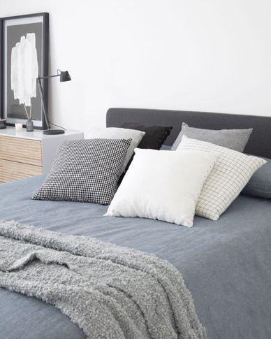 Funda cojín Maialen 100% lino cuadros blanco y rayas negro 45 x 45 cm