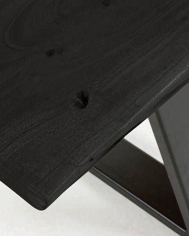Banc Alaia de fusta massissa d'acàcia negre i potes d'acer negre 160 cm