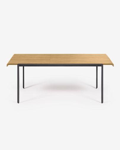 Stół rozkładany Nadyria fornir  dębowy stalowe nogi wykończenie czarne 160 (200) x 80 cm
