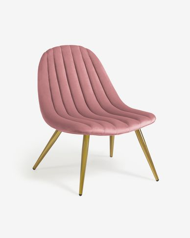 Marlene pink velvet chair with steel legs with gold finish