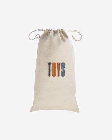 Sira 100% cotton toy bag with mustard and terracotta letters