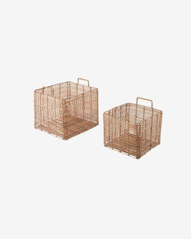 Set Daliña de 2 cestas cuadradas 100% ratán