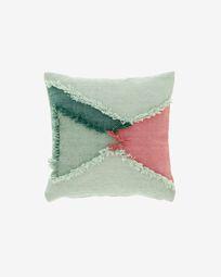 Dalila PET cushion cover with green fringe