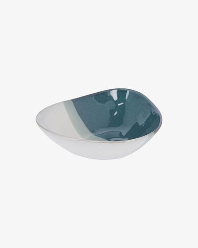 Bol irregular Nelba de ceràmica blanc i blau