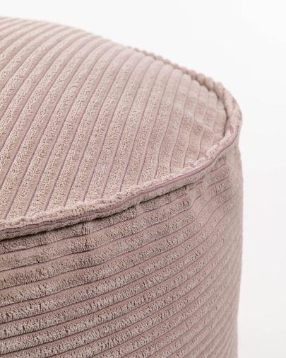Pouf grande Wilma Ø 60 cm velluto a coste rosa