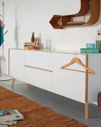 Aparador Melan 160 x 72 cm lacado branco e madeira maciça de seringueira