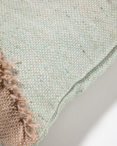 Funda coixí exterior Dalila de PET amb serrells beix 45 x 45 cm