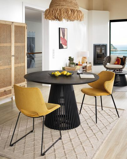 Mesa Jeanette madera maciza de mindi negro Ø 120 cm
