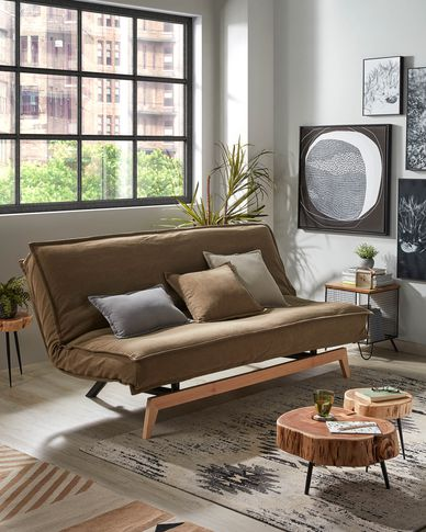Eveline sofa bed in grey with a wooden frame 195 cm