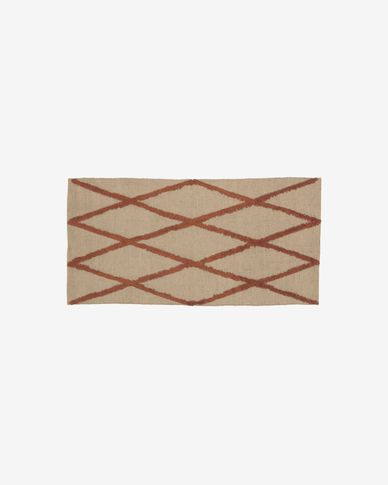 Abena rug in natural and garnet jute and cotton 70 x 140 cm