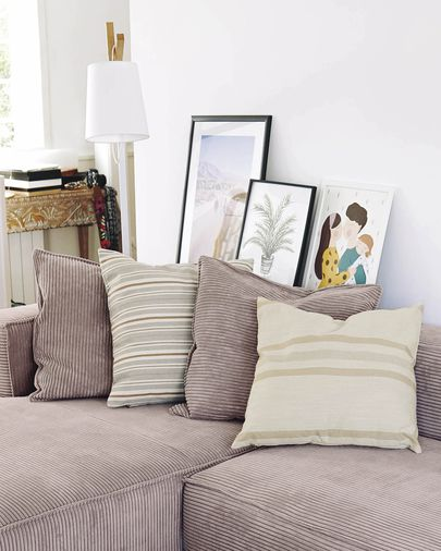 Sydelle striped ivory cushion cover 45 x 45 cm