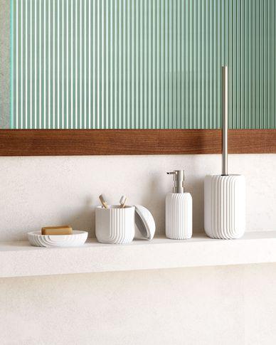 Ateneas white polyresin toilet brush