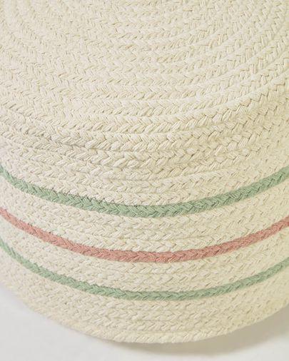 Puf redondo Daiana de algodón color beige y multicolor Ø 40 cm