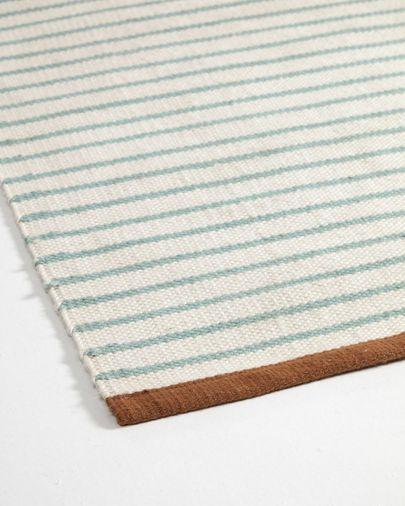 Catiana groen gestreept PET tapijt 60 x 90 cm