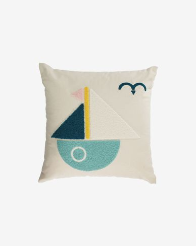 Samudra 100% cotton multi-coloured wall tapestry with sailing boat 45 x 45 cm