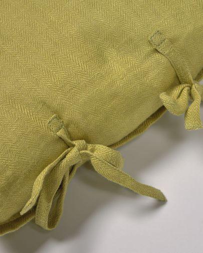 Housse de coussin Tazu 100% lin vert 30 x 50 cm