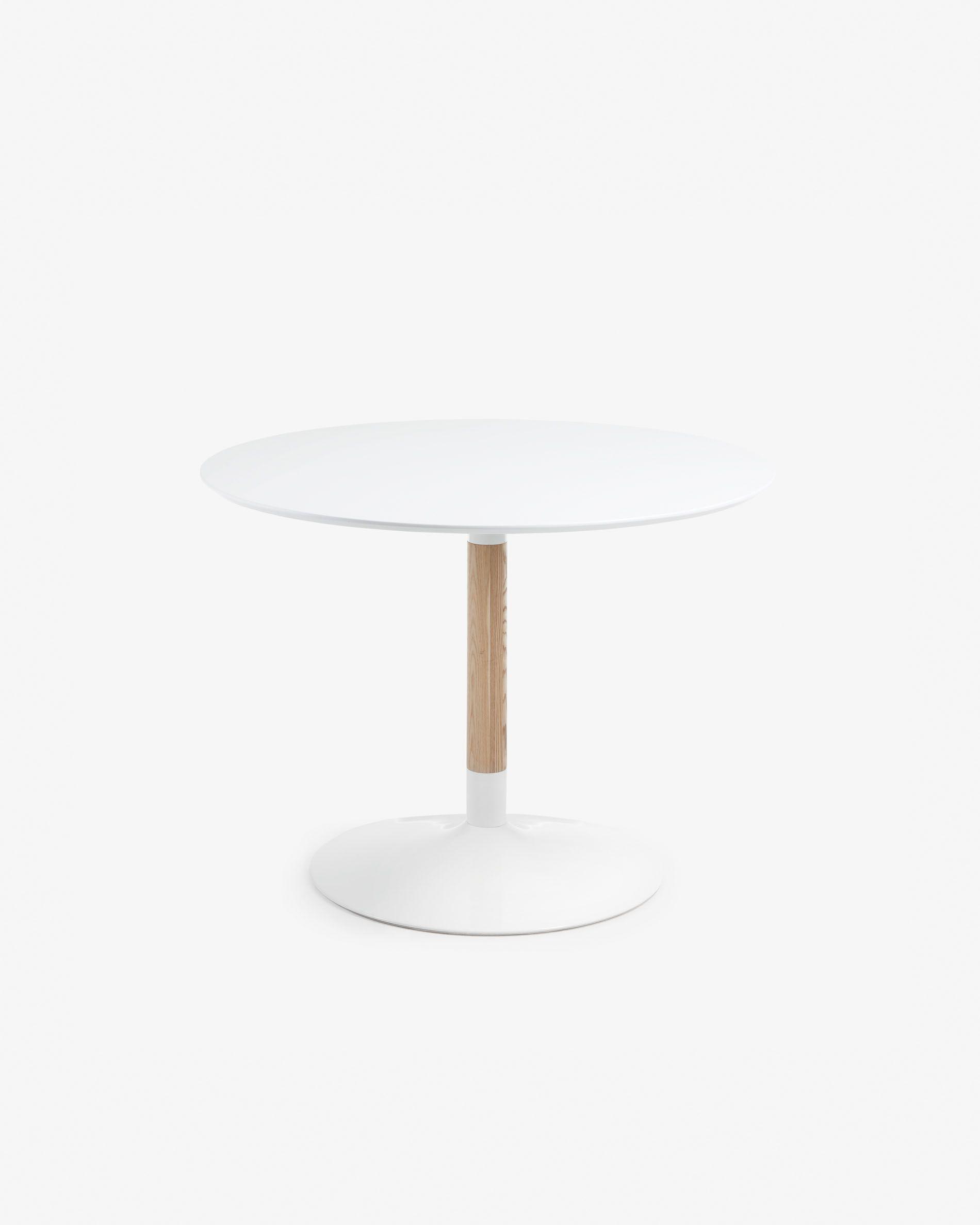 in legno di frassino e acciaio in bianco Kave Home Tavolo da pranzo Trick rotondo /Ø 110 cm bianco laccato con Fu