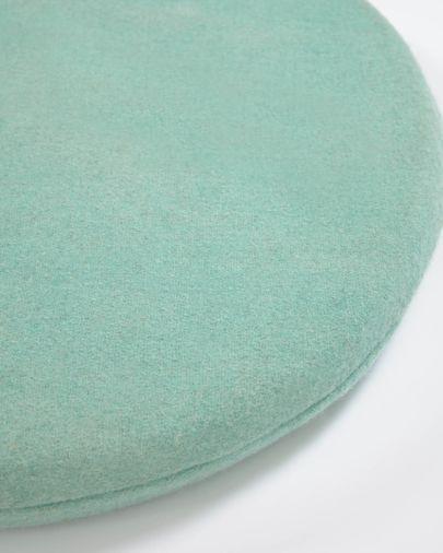 Cojín para silla redondo Biasina 100% lana turquesa Ø 35 cm