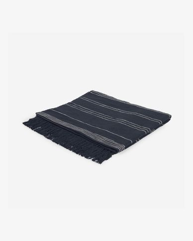 Adalgisa recycled cotton blanket with black and white stripes 130 x 170 cm