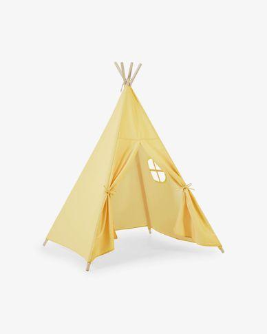 Namiot Teepee Darlyn 100% musztardowy bawełna i nogi z litej sosny
