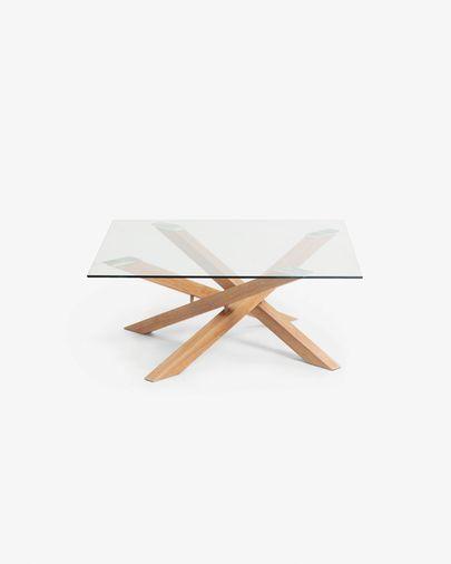 Mesa de centro Kamido cristal y patas de acero efecto madera 90 x 90 cm