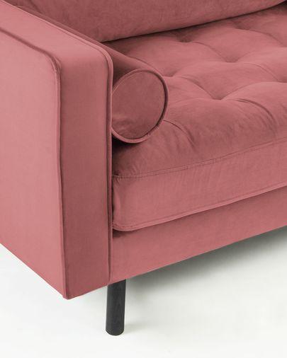 Divano Debra 3 posti velluto rosa 222 cm