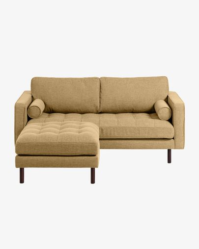 Debra mustard yellow 2-seater sofa with pouf 182 cm