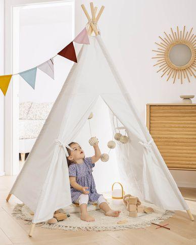 Namiot teepee Darlyn 100% biała bawełna i nogi z litego drewna sosnowego