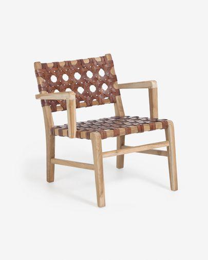 Sillón Nuru madera maciza teca y cuero