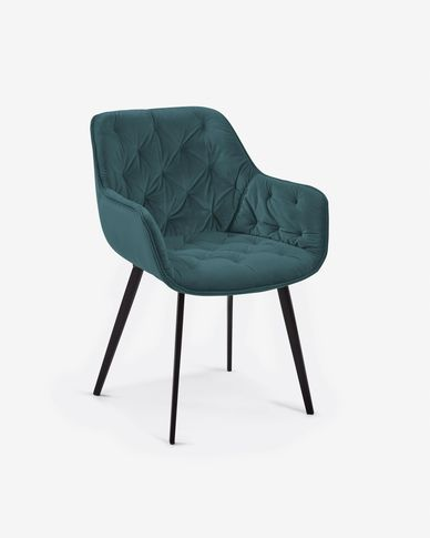 Chaise Mulder velours turquoise