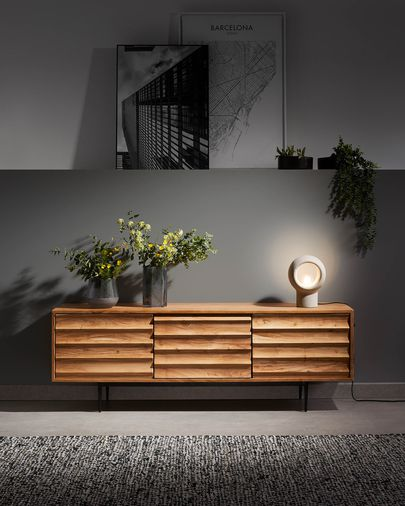 Mueble TV Delsie 147 x 50 cm de madera maciza de acacia