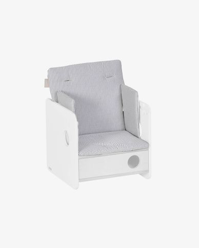 100% organic cotton (GOTS) Nuun highchair cushion in blue stripes