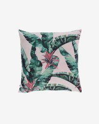 Hermie cushion cover with green leaves 45 x 45 cm