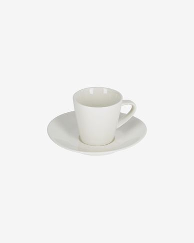 Pierina porcelain cup and saucer in white