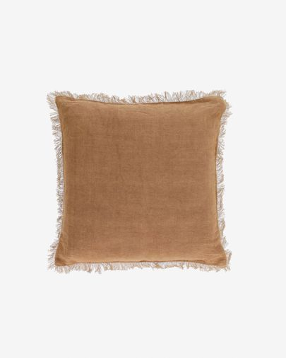 Funda cojín Almira algodón y lino flecos marrón 45 x 45 cm