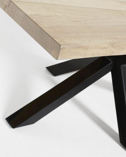 Argo Tisch 160 x 90 cm mit gebleichter Eichenplatte und schwarzen Stahlbeinen